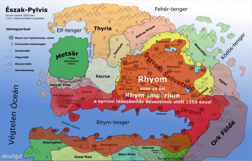 Ősi Rhyom területe jelölve a mai országok térképén