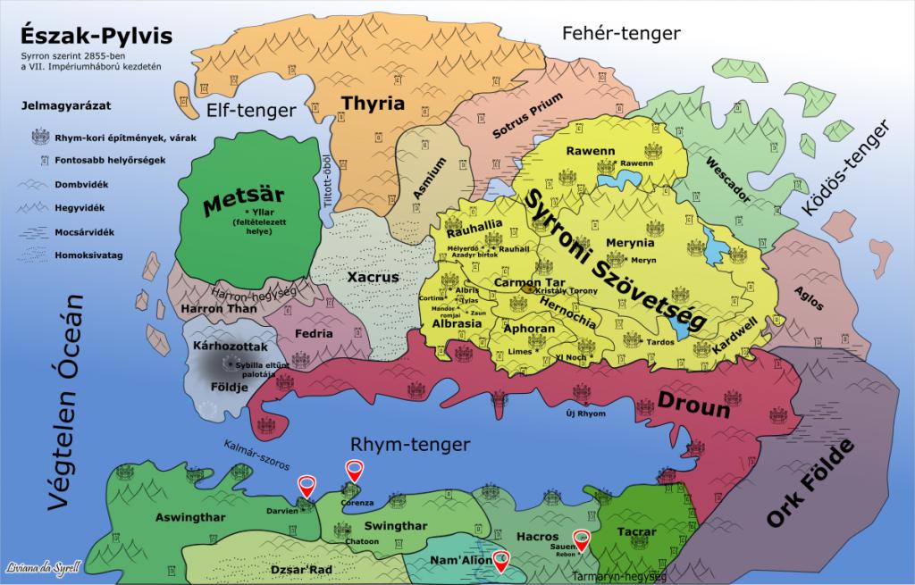 Észak-Pylvis térképén bejelölt helyzínek