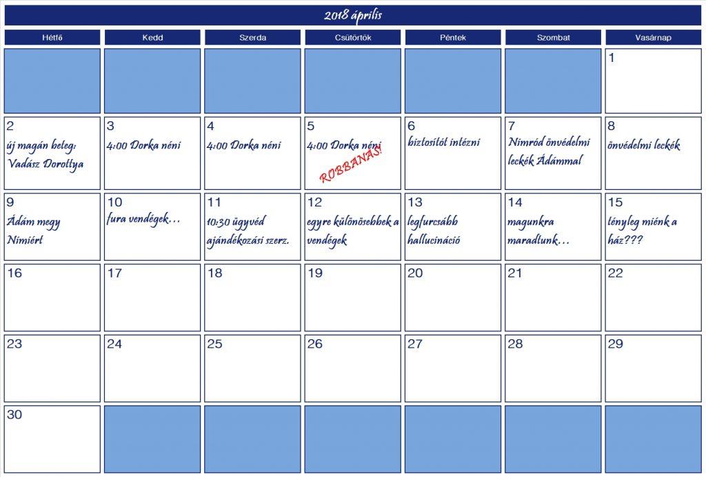 2018 április naptár